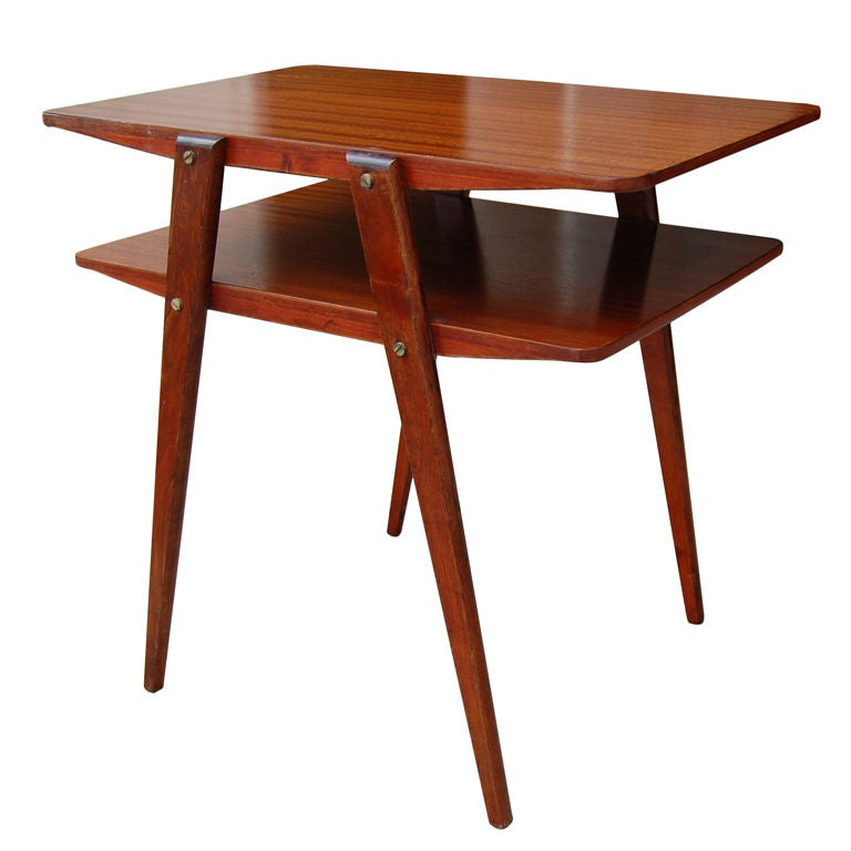Two-Tier MId-Century Modern End Table in Ribbon Mahogany at 1stdibs
