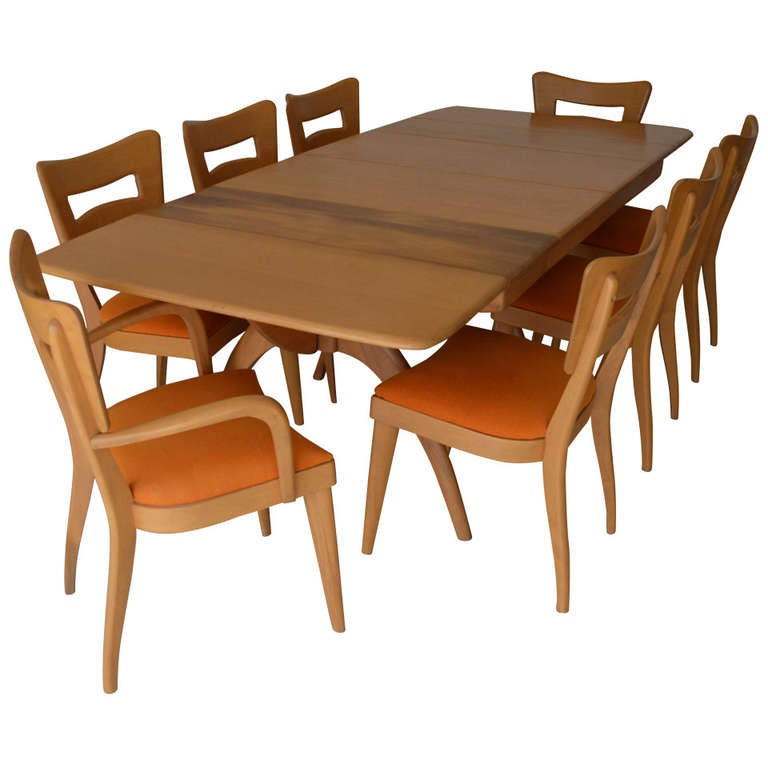 sale heywood wakefield wishbone dining table with 8 dogbone dining