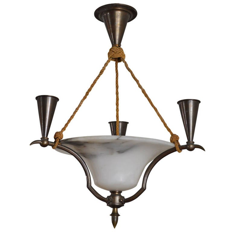 Swedish Neoclassical Iron and Alabaster Candelabra Chandelier