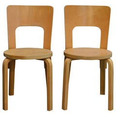 Pair of Vintage No. 66 Alvar Aalto Chairs for Artek