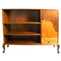 Art Deco Intarsia Dark and Golden Flame Birch Bookcase Cabinet