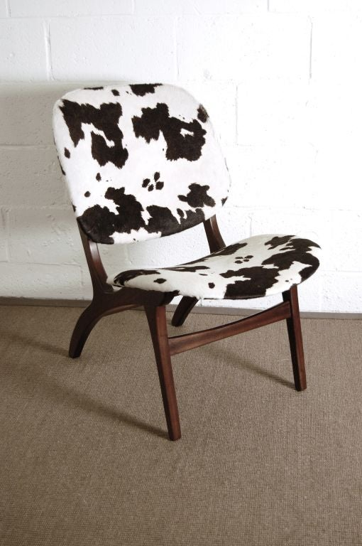 Swedish Mid-Century Modern Pony Hide Lounge Chair In Good Condition For Sale In Atlanta, GA