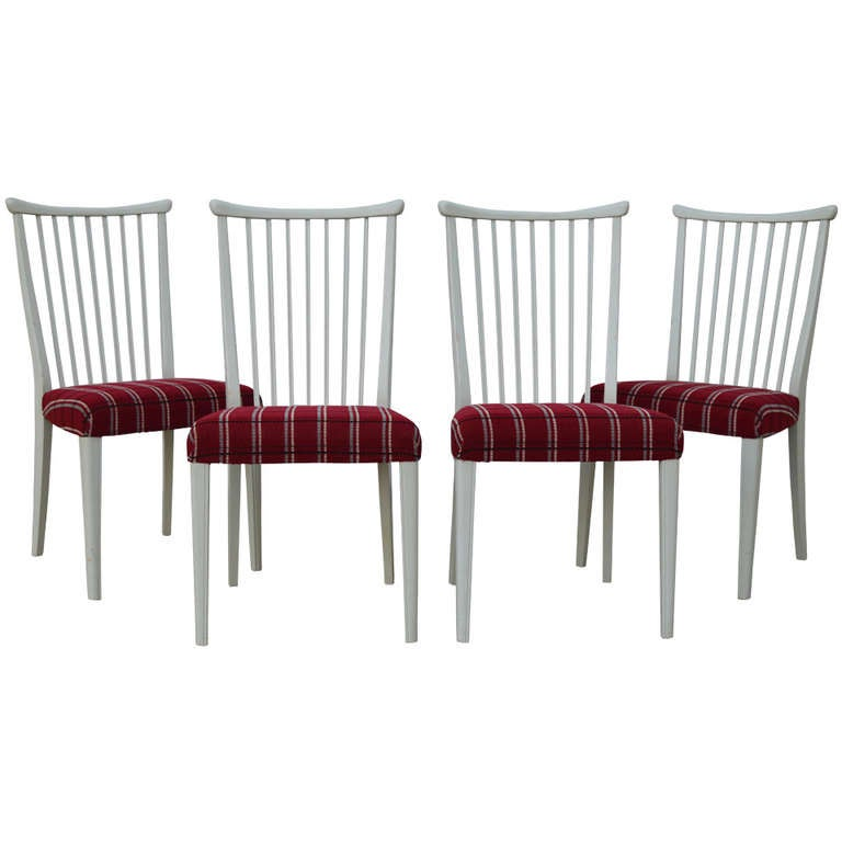 Set of Four Mid-Century Gustavian Style Dining Chairs