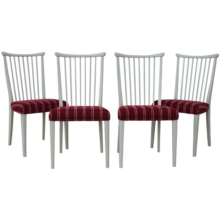 Set of Four Mid-Century Gustavian Style Dining Chairs For Sale