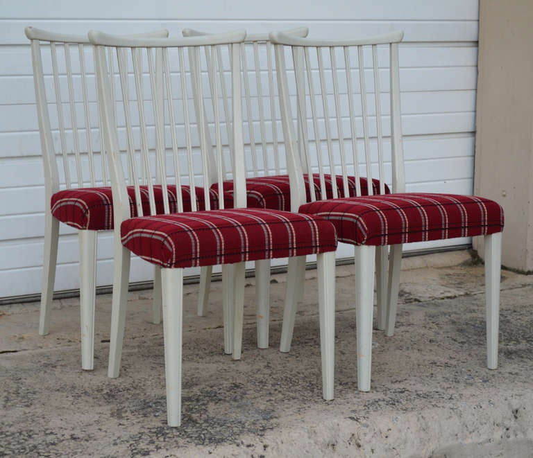 Scandinavian Modern Set of Four Mid-Century Gustavian Style Dining Chairs For Sale