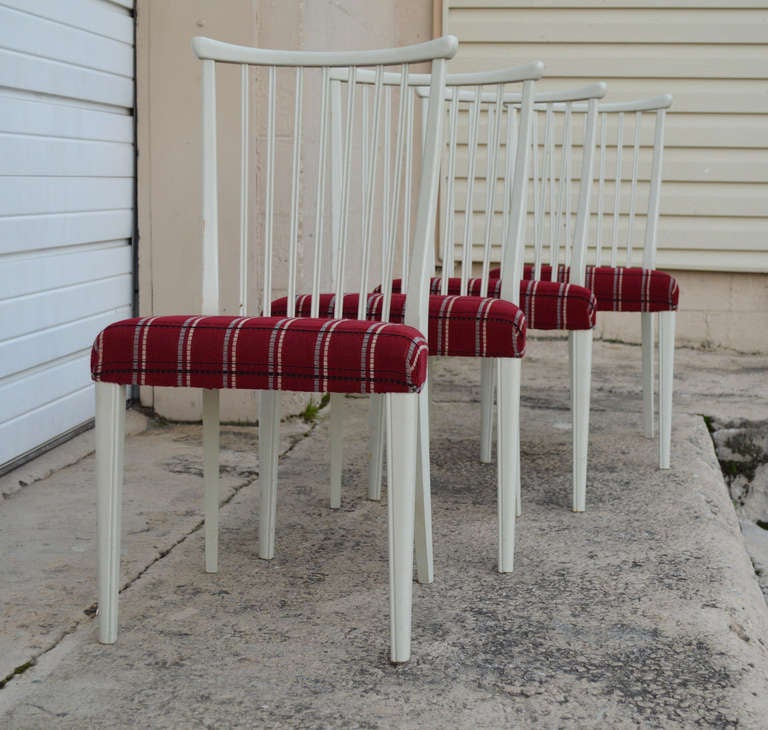Swedish Set of Four Mid-Century Gustavian Style Dining Chairs For Sale
