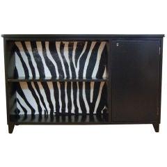 Swedish Art Moderne Black Writing Desk with Zebra Hide Insert