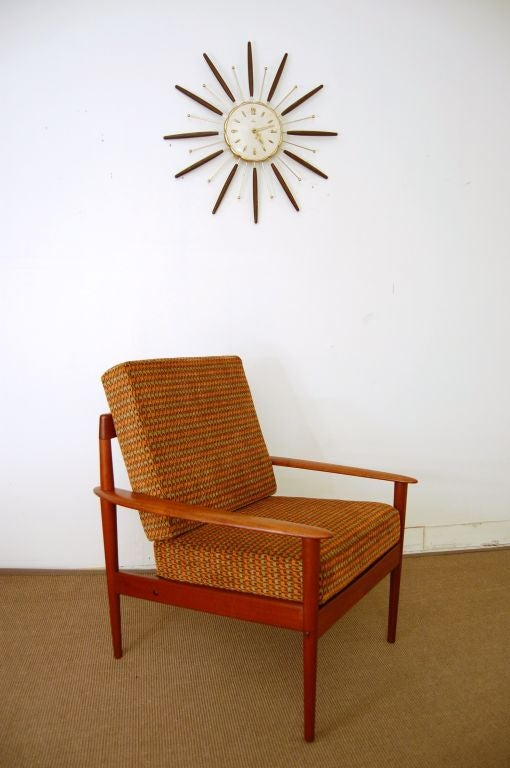 pair of danish mid century modern colorful teak lounge armchairs for sale at 1stdibs. Black Bedroom Furniture Sets. Home Design Ideas