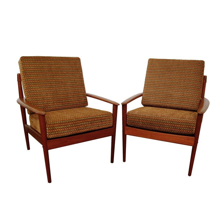 Pair of danish mid century modern colorful teak lounge for Mid century modern armchairs
