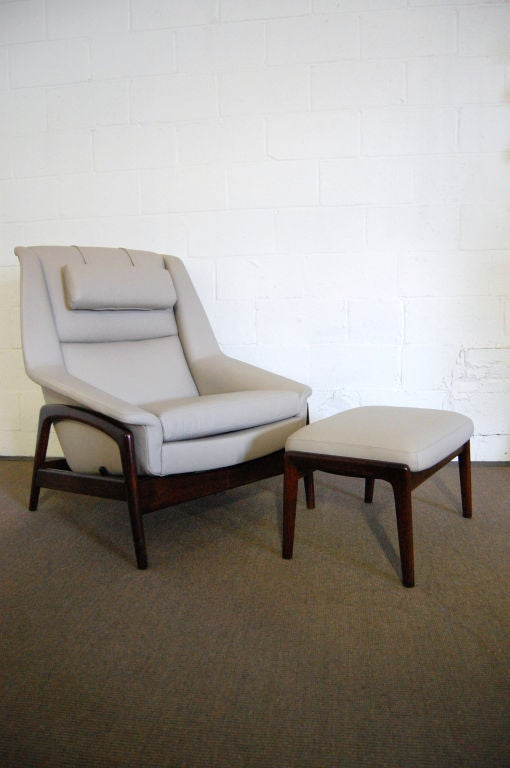 Mid Century Leather And Teak Lounge Chair And Ottoman By