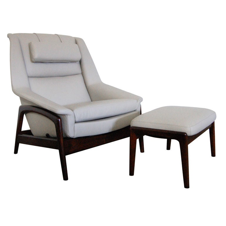 mid century leather and teak lounge chair and ottoman by dux at