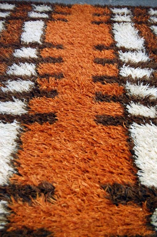 Vintage Swedish Modern Orange Or Brown Rya Rug By Tabergs