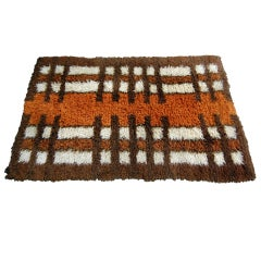 Vintage Swedish Modern Orange or Brown Rya Rug by Tabergs