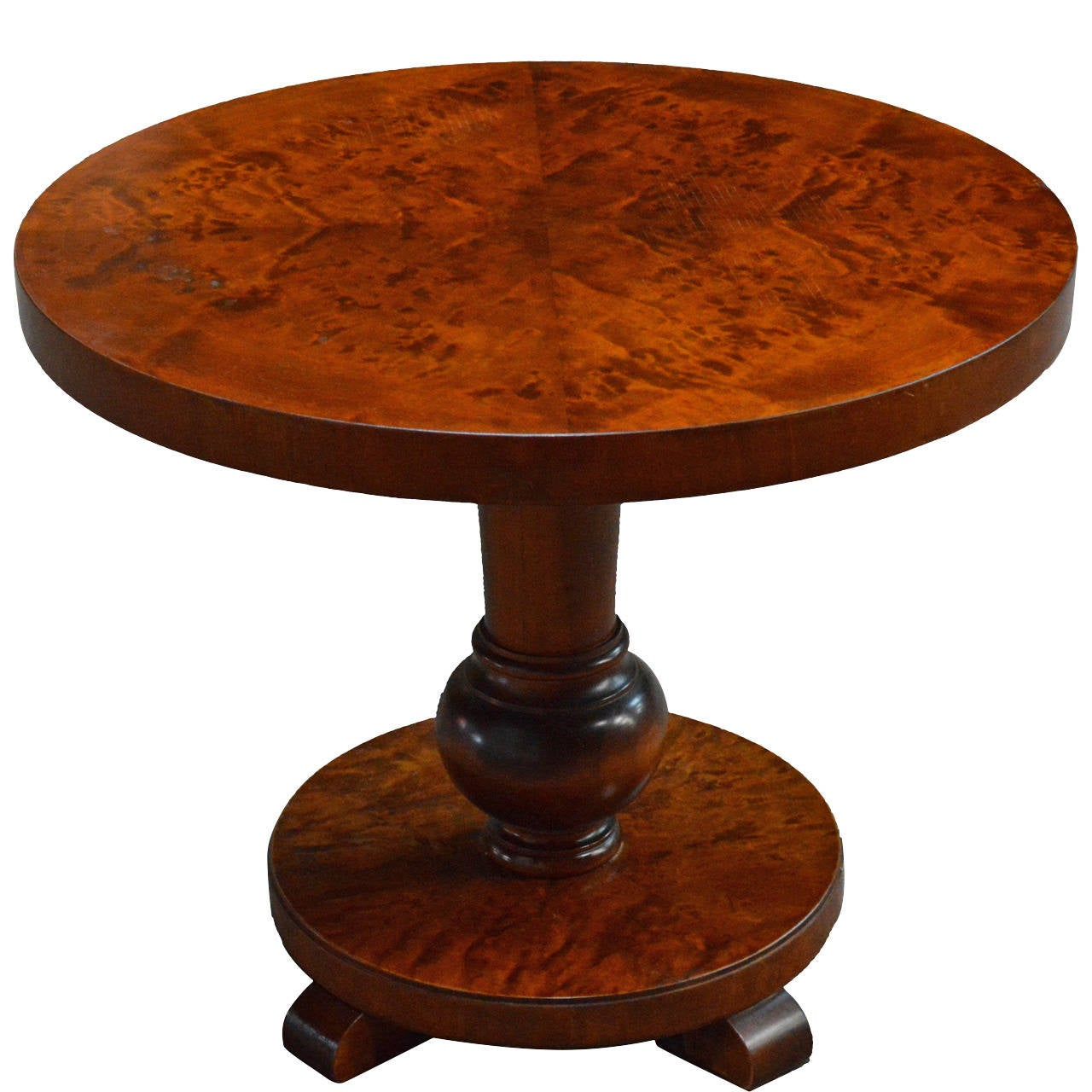 Swedish Round Flame Birch Pedestal End Or Side Table At