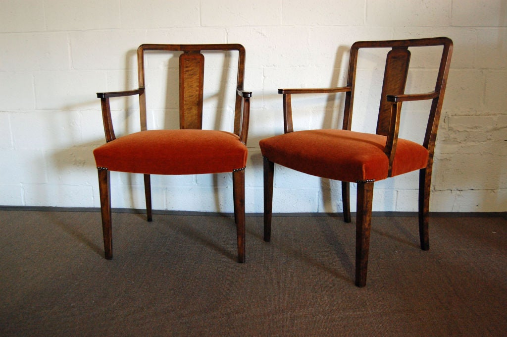 Pair Of Swedish Art Deco Intarsia Burnt Orange Mohair