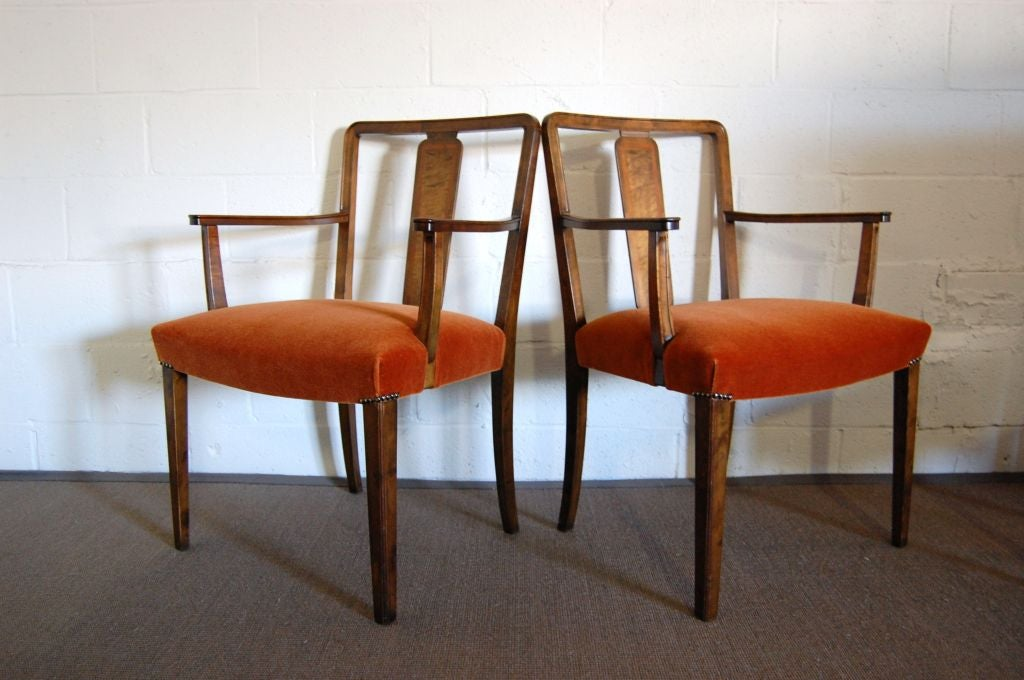 Pair Of Swedish Art Deco Intarsia Burnt Orange Mohair Arm Chairs At 1stdibs