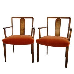 Pair of Swedish Art Deco Intarsia Burnt Orange Mohair Armchairs