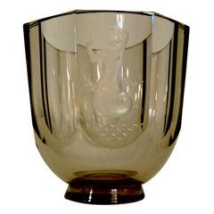 Nils Landberg for Orrefors Engraved Mermaid Art Glass Vase