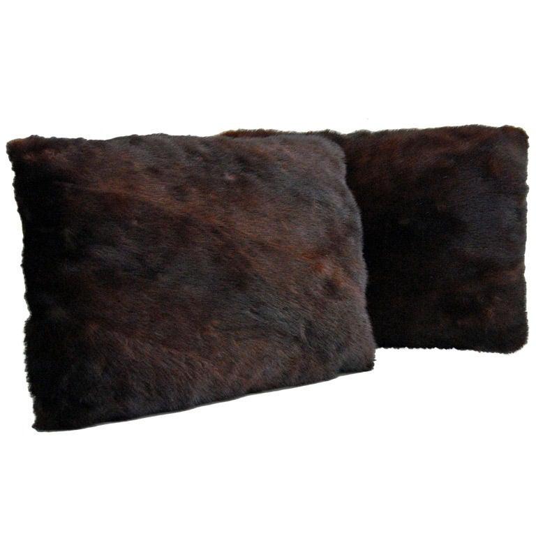 Pair of Reclaimed Vintage Mink Fur Rectangular Pillows