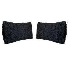 Pair of Reclaimed Vintage Black Persian Lamb Fur Pillows