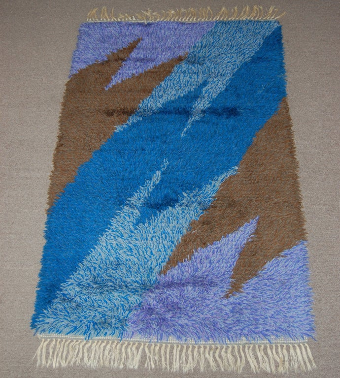 Mid 20th Century Modern Scandinavian Area Rug At 1stdibs: Swedish Modern 3x5 Abstract Blue, Lavender, Brown Shag Rya