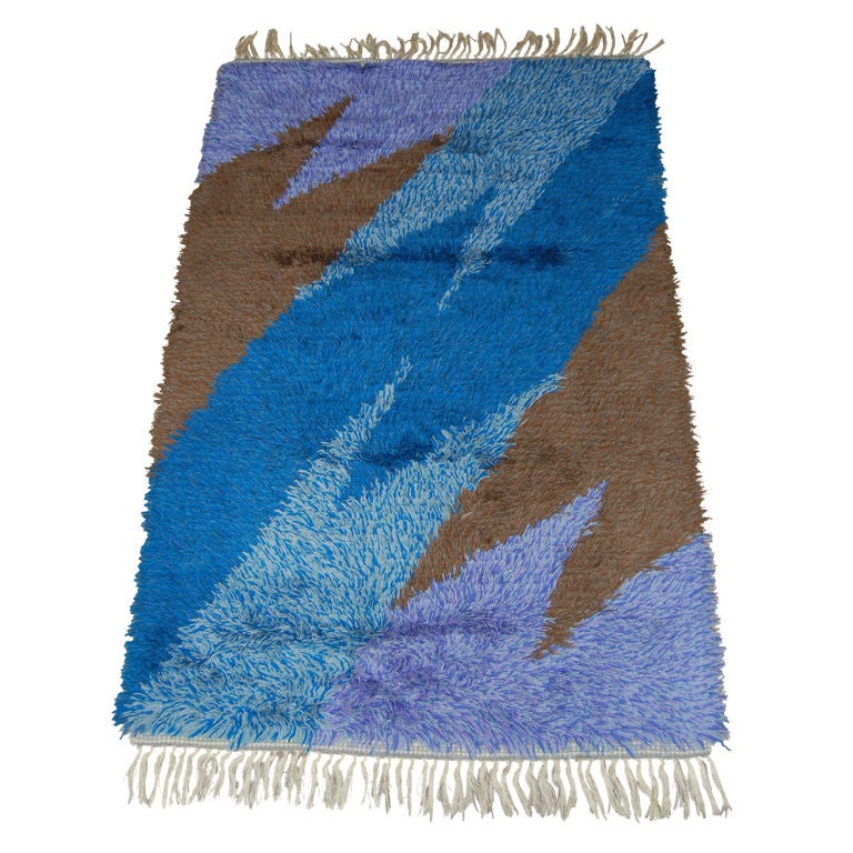 Swedish Modern 3x5 Abstract Blue, Lavender, Brown Shag Rya Rug