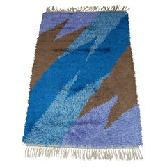 Swedish Modern 3x5 Abstract Blue, Lavender, Brown Shag Rya Rug