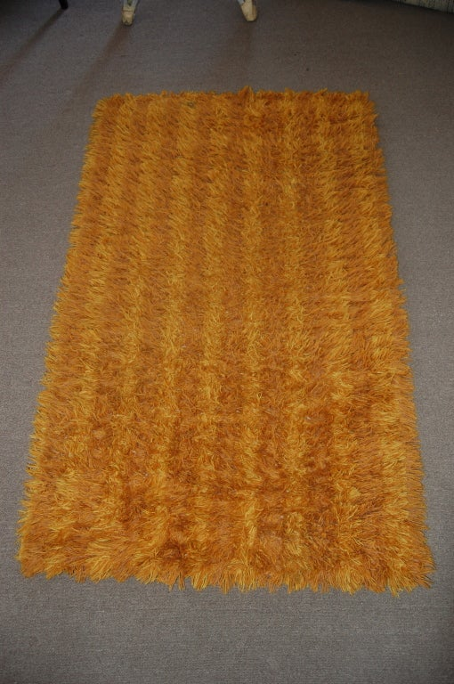 Vintage Swedish Modern 3x5 Striped Orange And Gold Shag