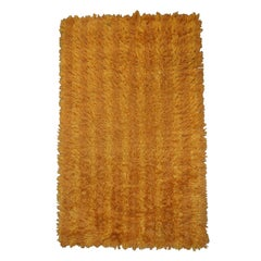 Vintage Swedish Modern 3x5 Striped Orange and Gold Shag Rya Rug
