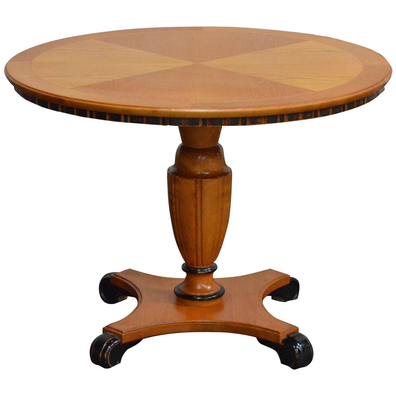 Swedish Art Deco Round Golden Elm Pedestal End or Side Table