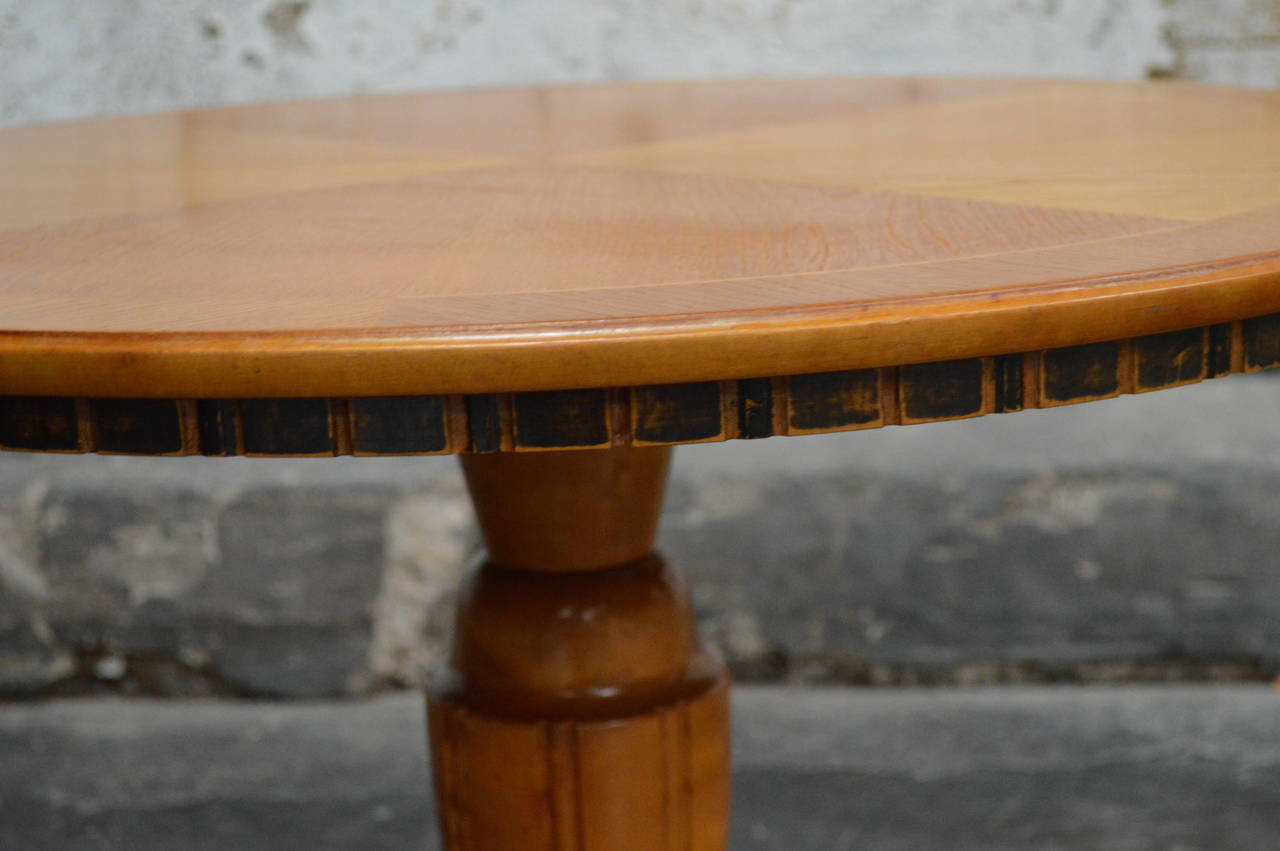 Swedish Art Deco Round Golden Elm Pedestal End or Side Table For Sale 1