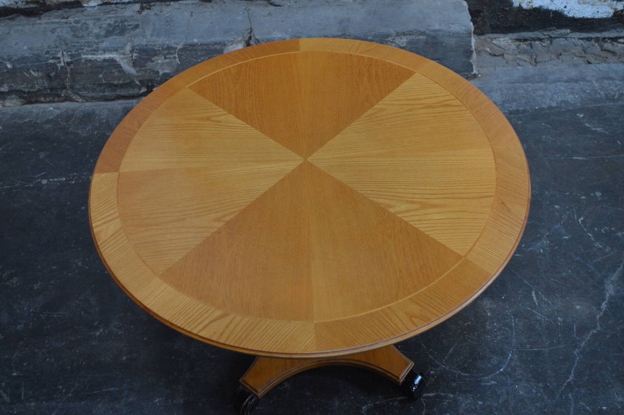 Swedish Art Deco Round Golden Elm Pedestal End or Side Table For Sale 3