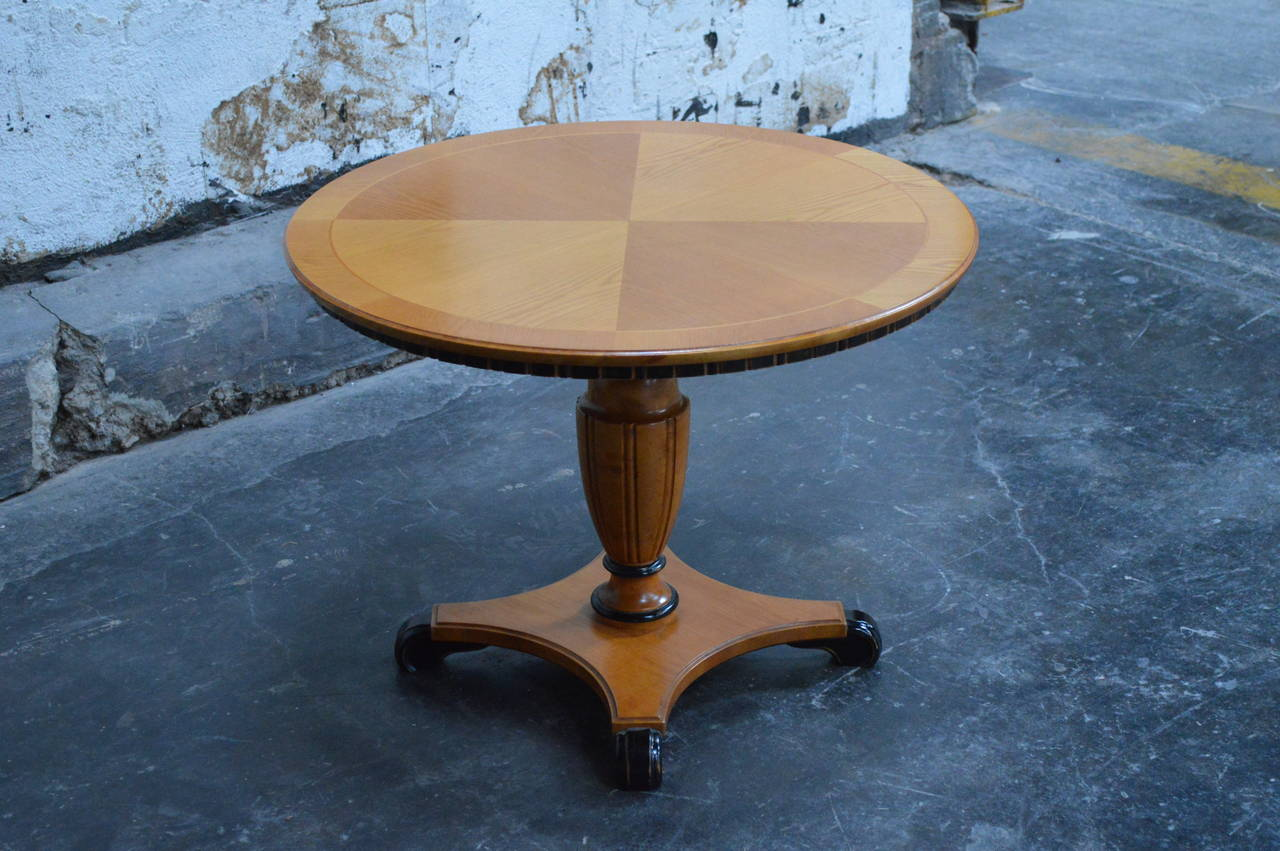 Swedish Art Deco Round Golden Elm Pedestal End or Side Table For Sale 4