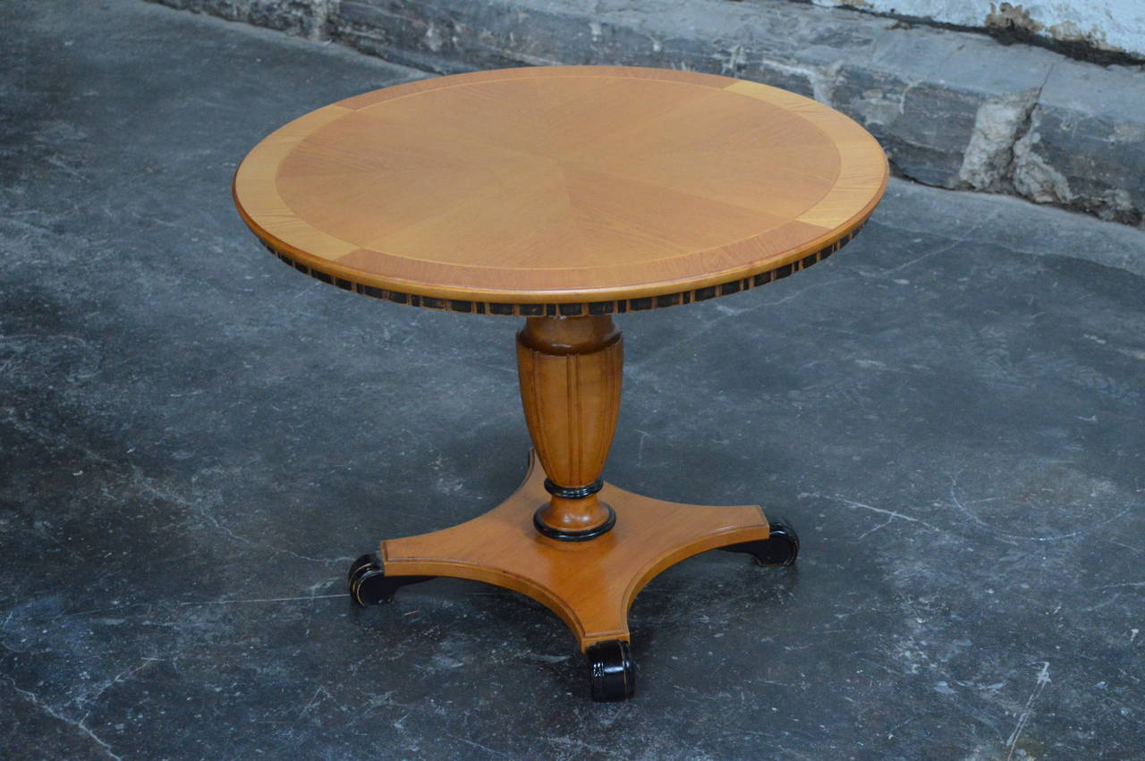 Swedish Art Deco Round Golden Elm Pedestal End or Side Table For Sale 5