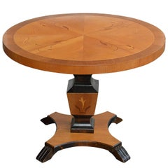 Swedish Art Deco Round Intarsia Pedestal Table