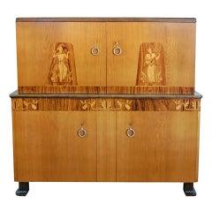 Swedish Art Deco Intarsia Storage Bar Cabinet