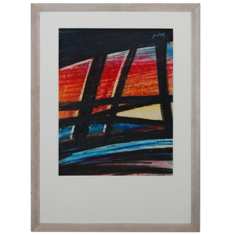 Vintage Ivan Jordell Abstract Pastel On Paper Artwork