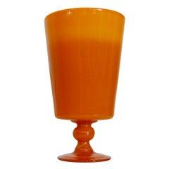 Vintage Swedish Footed Art Glass Vase by Erik Höglund, Boda