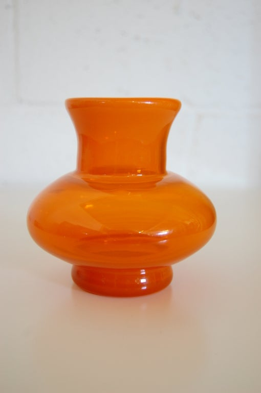 Vintage Swedish Orange Glass Vase By Erik H 246 Glund For Boda