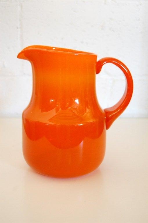 Vintage Swedish Orange Art Glass Pitcher By Erik H 246 Glund
