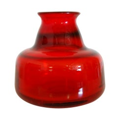 Vintage Swedish Red Art Glass Vase by Erik Höglund for Boda