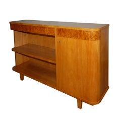 Swedish Art Deco Moderne Carpathian Elm Cabinet Bookcase