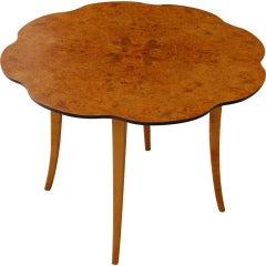 Swedish Art Moderne Scalloped Carpathian Elm Round End Table