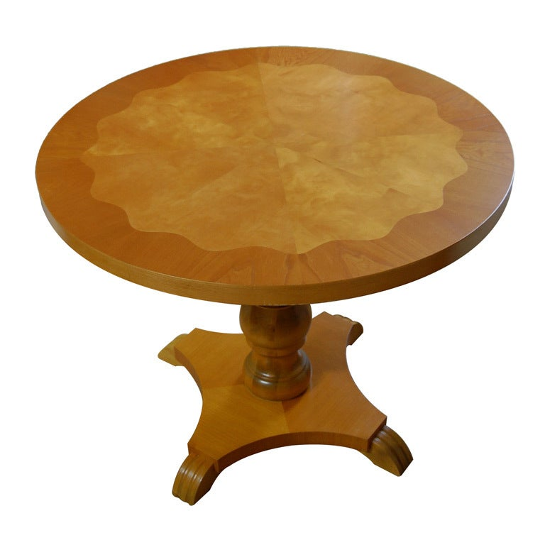 Swedish Art Deco Moderne Round Pedestal End or Side Table