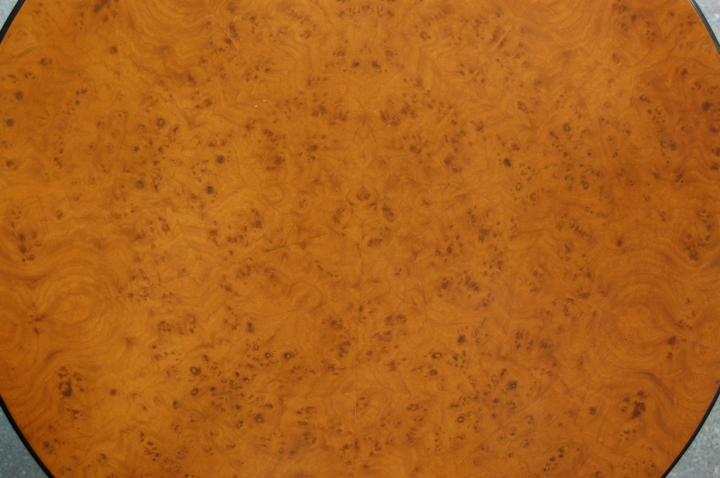 Swedish Art Deco Round Carpathian Birch Coffee or Side Table In Good Condition For Sale In Atlanta, GA