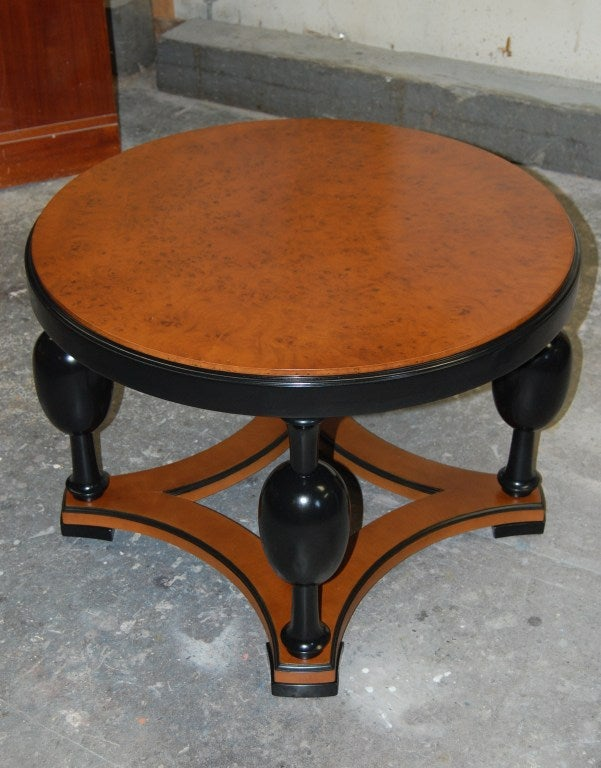 Early 20th Century Swedish Art Deco Round Carpathian Birch Coffee or Side Table For Sale