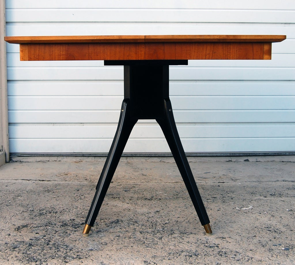 Beautiful Mid Century Teak Dining Table With Ebonized Pedestal Base. *Chair  Not Included