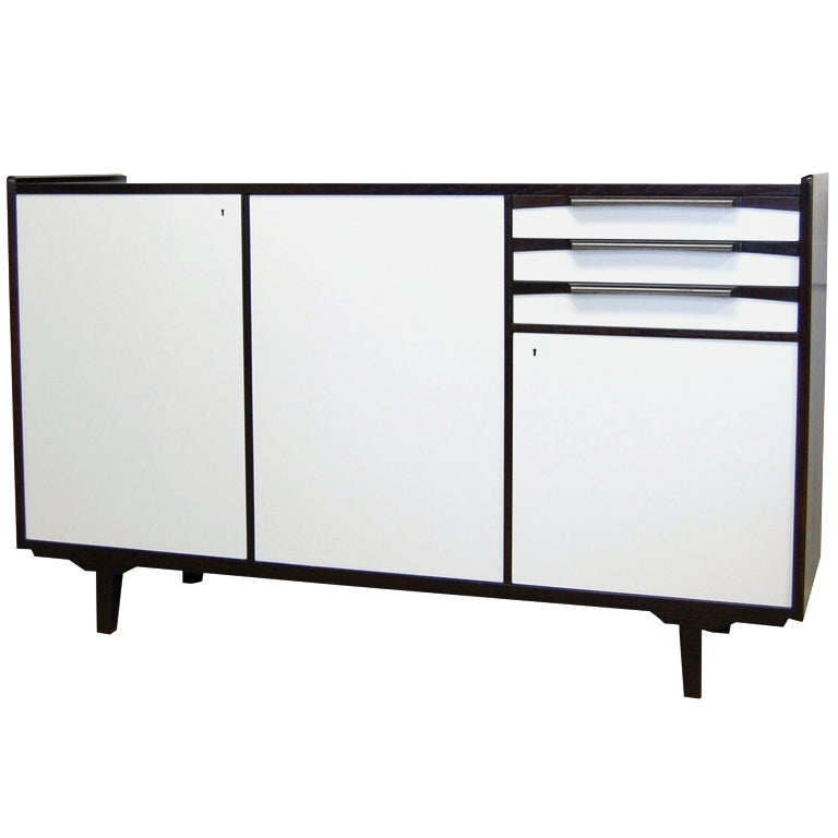 Swedish Mid-Century Teak and White Lacquer Credenza For Sale