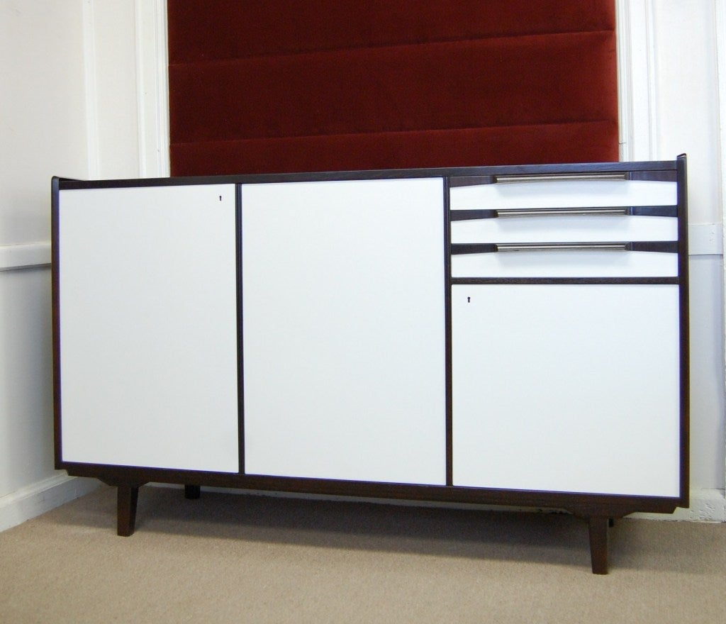 Swedish Mid-Century Teak and White Lacquer Credenza For ...