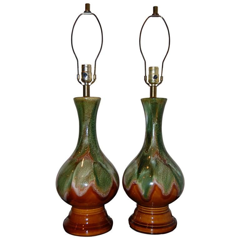 Pair of Ceramic Drip Glaze Lamps